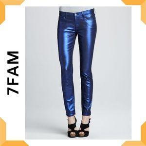 7FAM Electric Blue Liquid Metallic Skinny Jeans 27